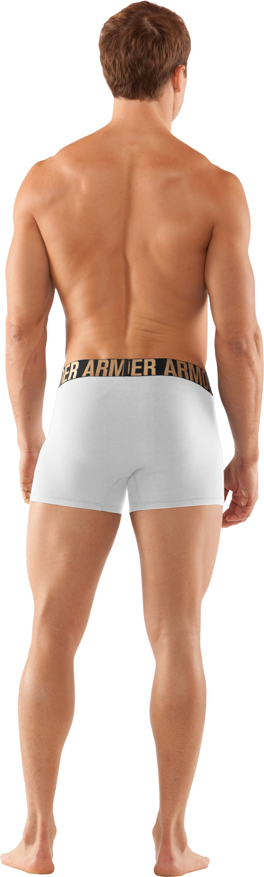 "Men's UA Elite 3"" Boxerjock® Boxer Briefs, White, Back"