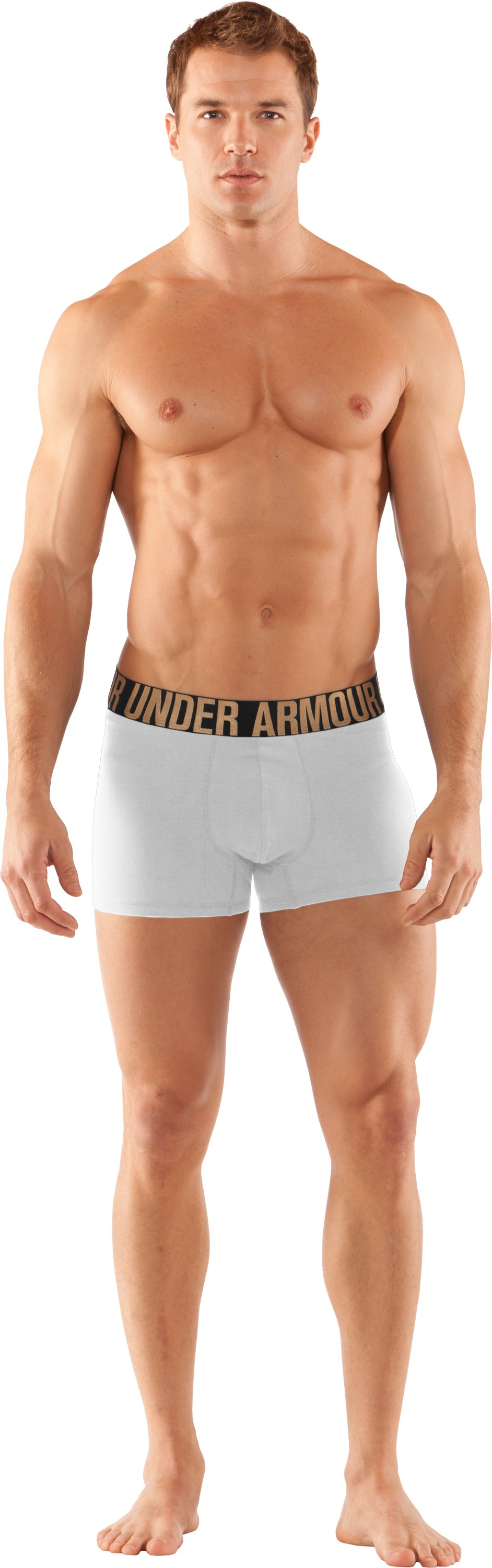 "Men's UA Elite 3"" Boxerjock® Boxer Briefs, White, zoomed image"