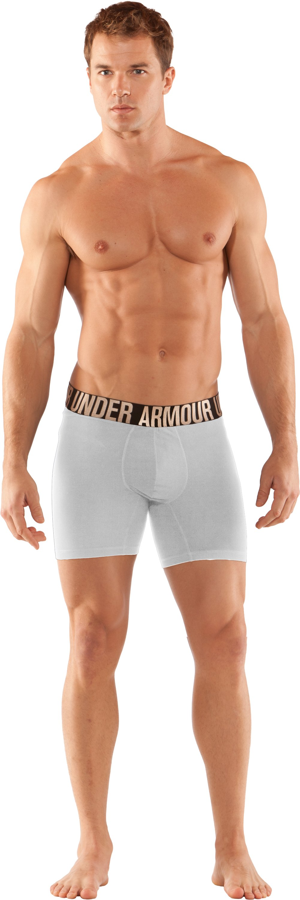 "Men's UA Elite 6"" Boxerjock® Boxer Briefs, White, Front"