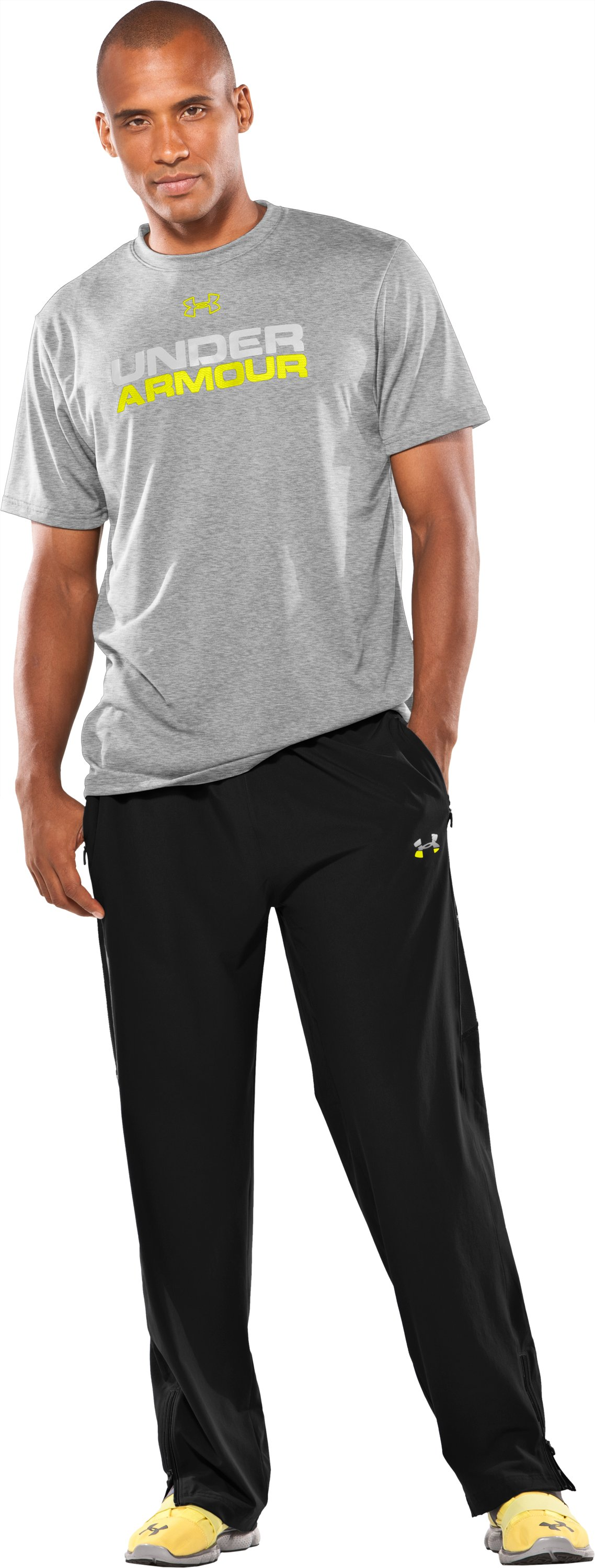 Men's UA Run Pants, Black , Front