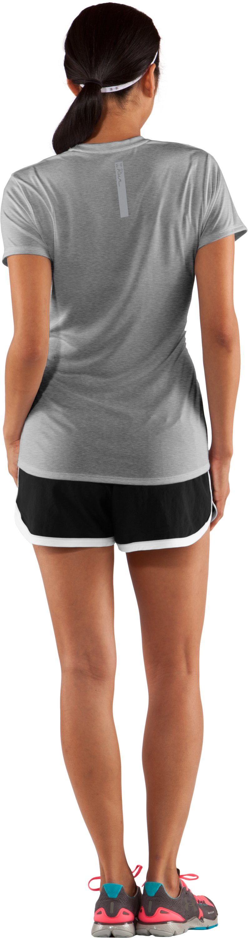 Women's UA Run Gradiated Graphic T-Shirt, True Gray Heather, Back
