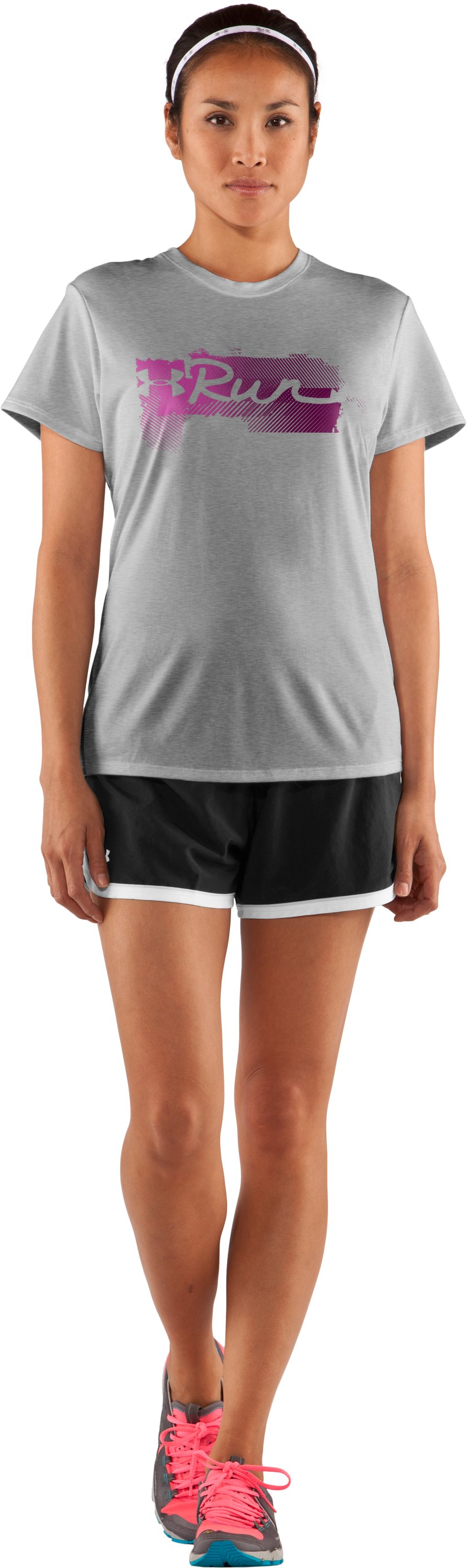 Women's UA Run Gradiated Graphic T-Shirt, True Gray Heather, Front