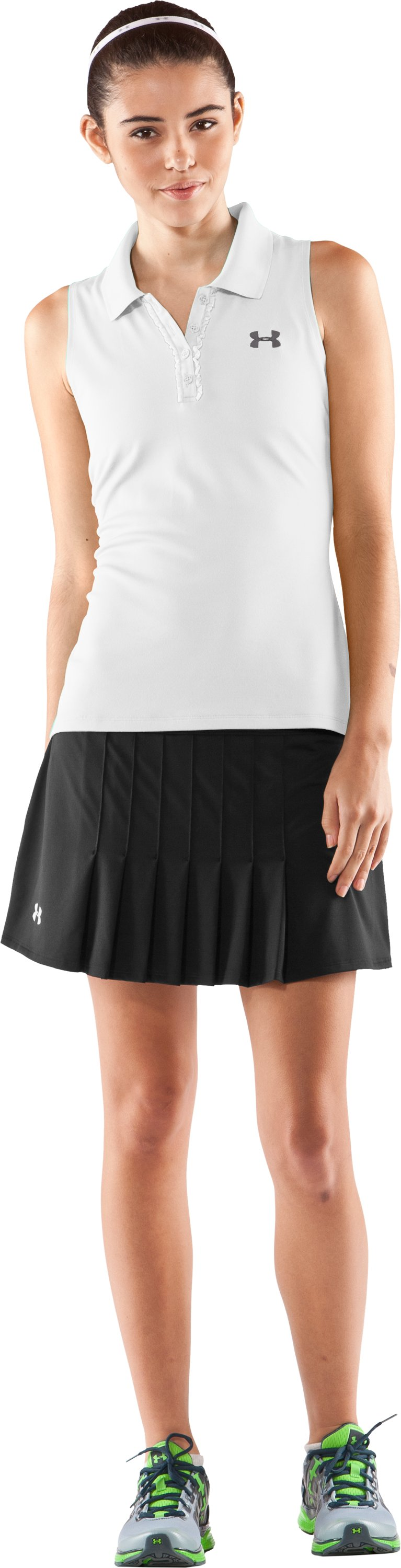 Women's UA Tennis Match Sleeveless Polo, White, Front