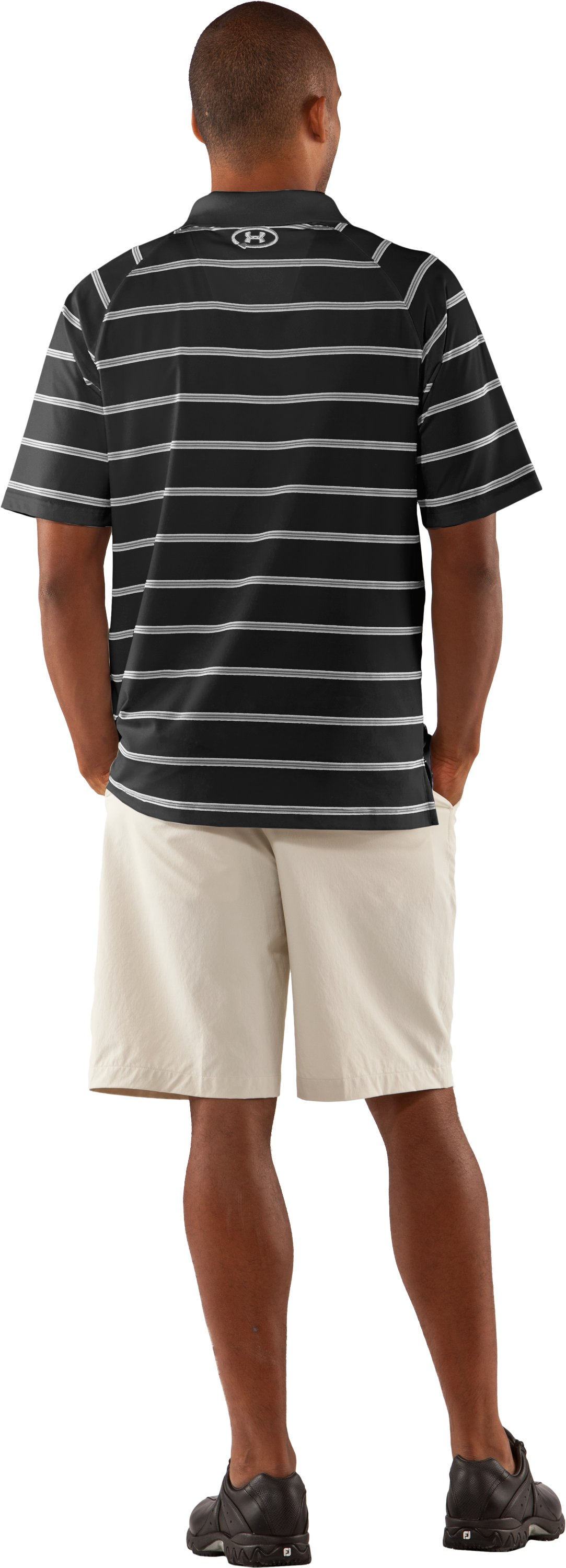 Men's UA Catalyst Stripe Polo, Black , Back