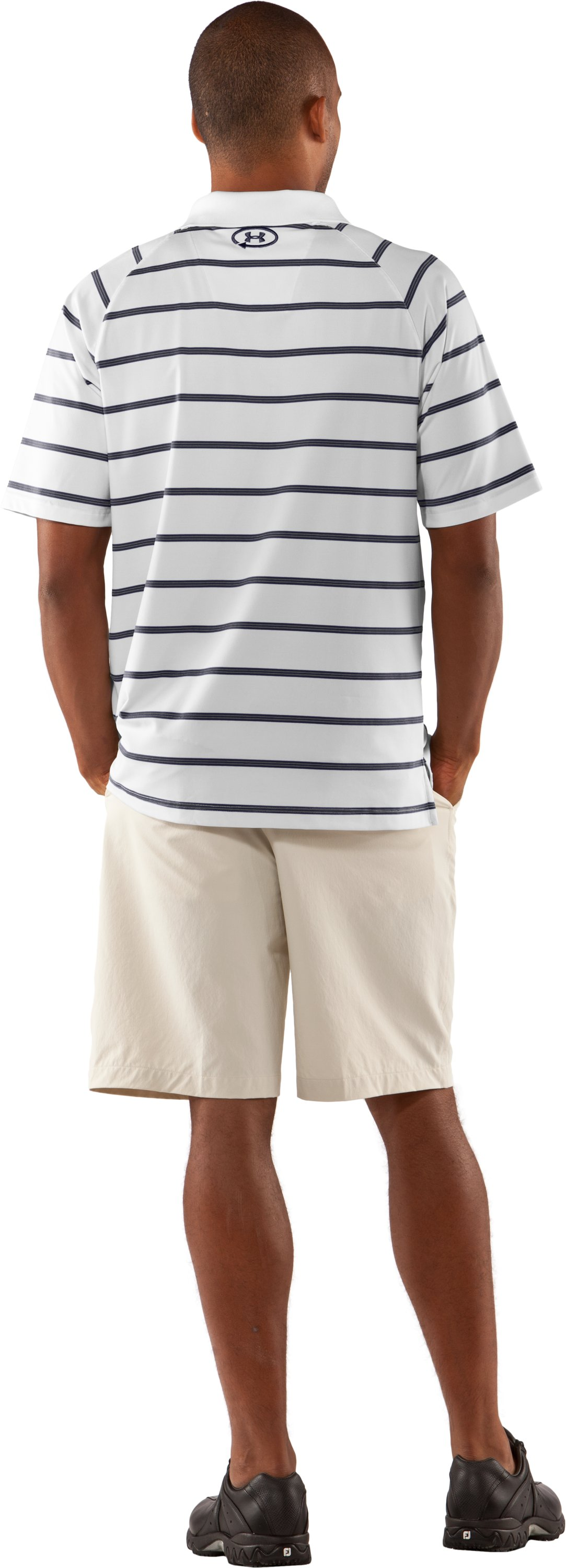 Men's UA Catalyst Stripe Polo, White, Back