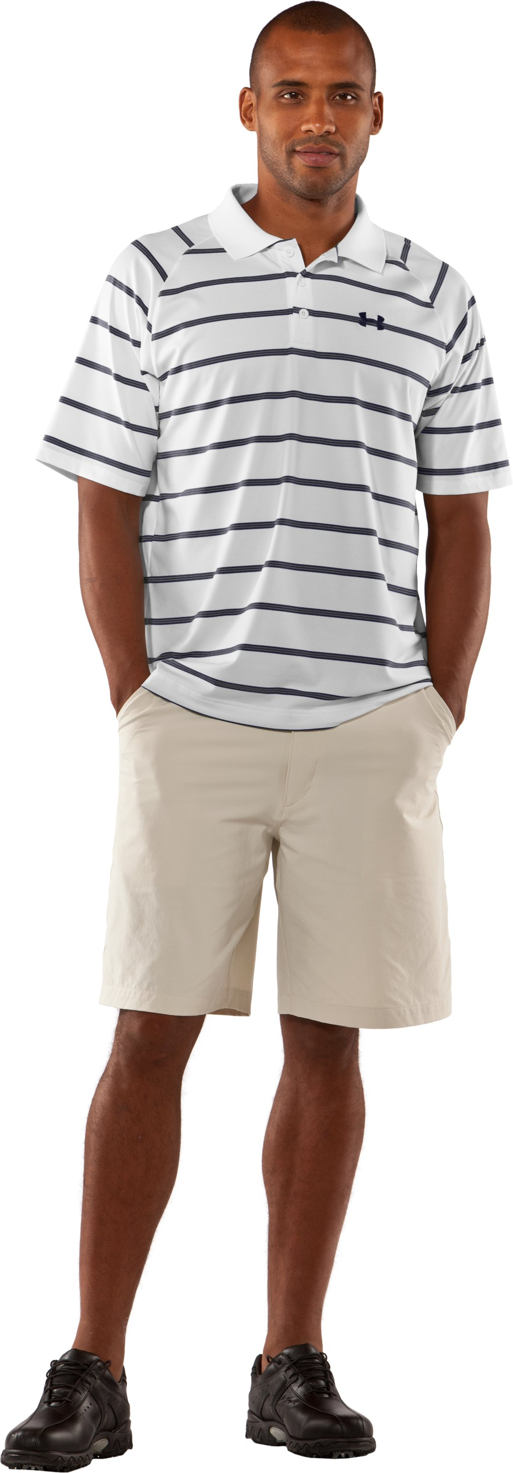 Men's UA Catalyst Stripe Polo, White, Front