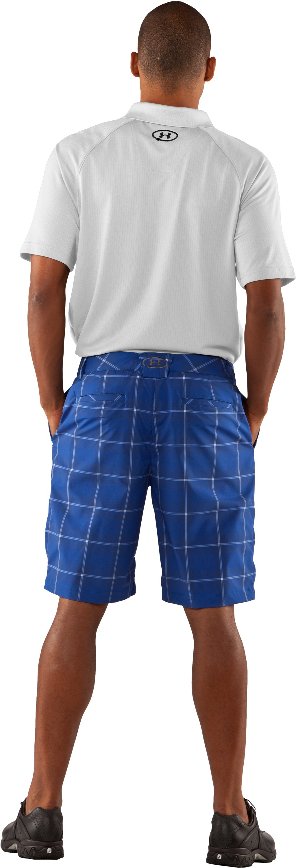 Men's UA Catalyst Plaid Shorts, Moon Shadow, Back