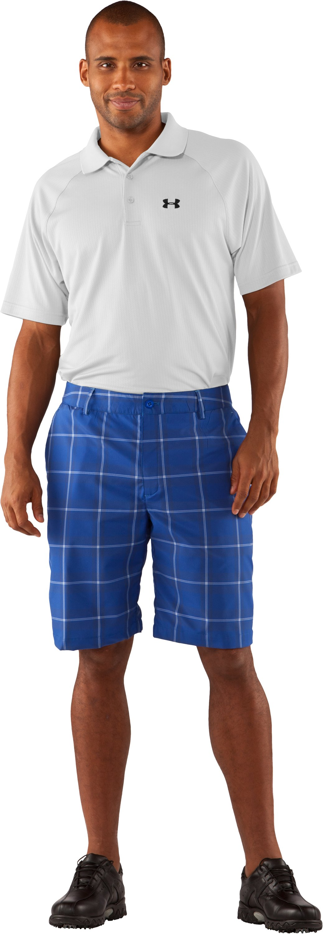 Men's UA Catalyst Plaid Shorts, Moon Shadow, Front