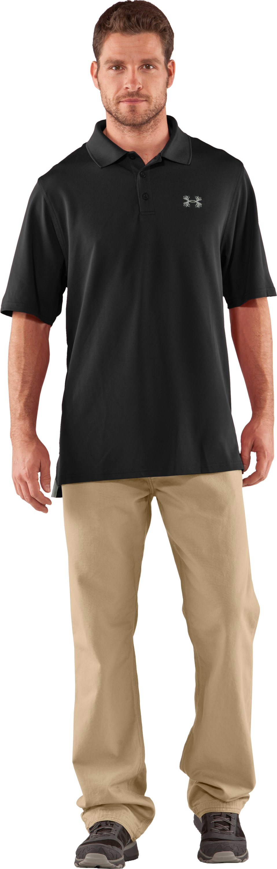 Men's UA Performance Antler Logo Polo, Black , zoomed image
