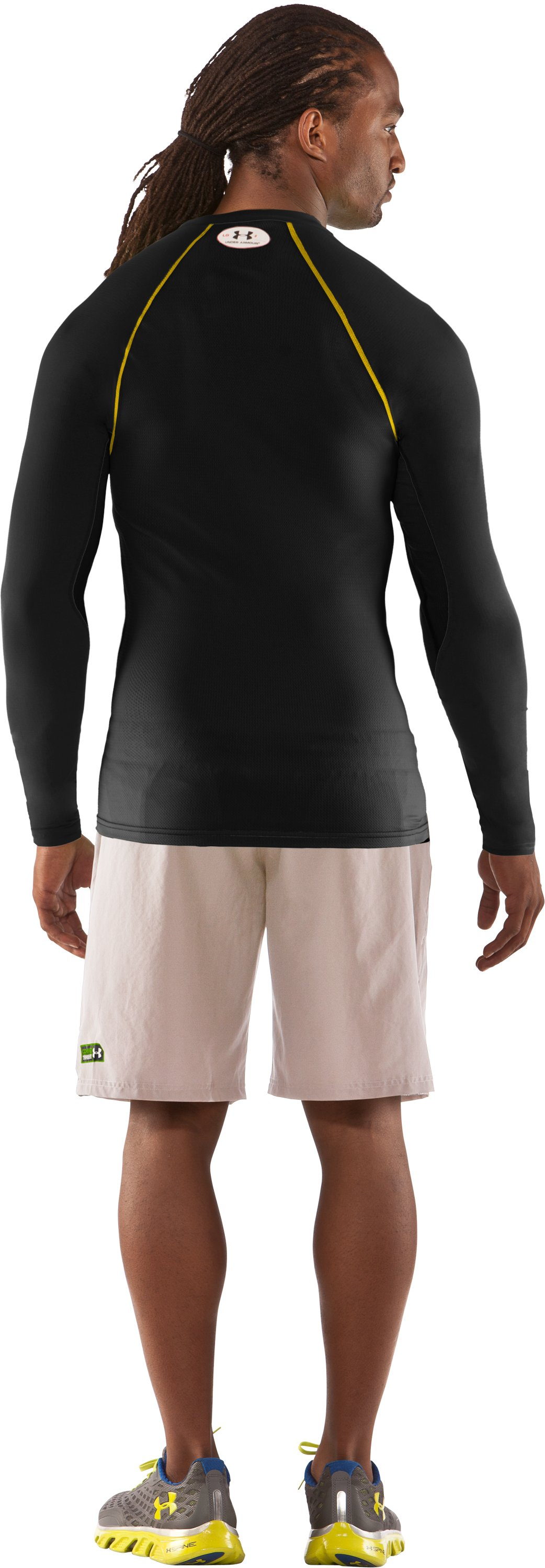Men's HeatGear® Stretch Woven Long Sleeve Baselayer, Black , Back