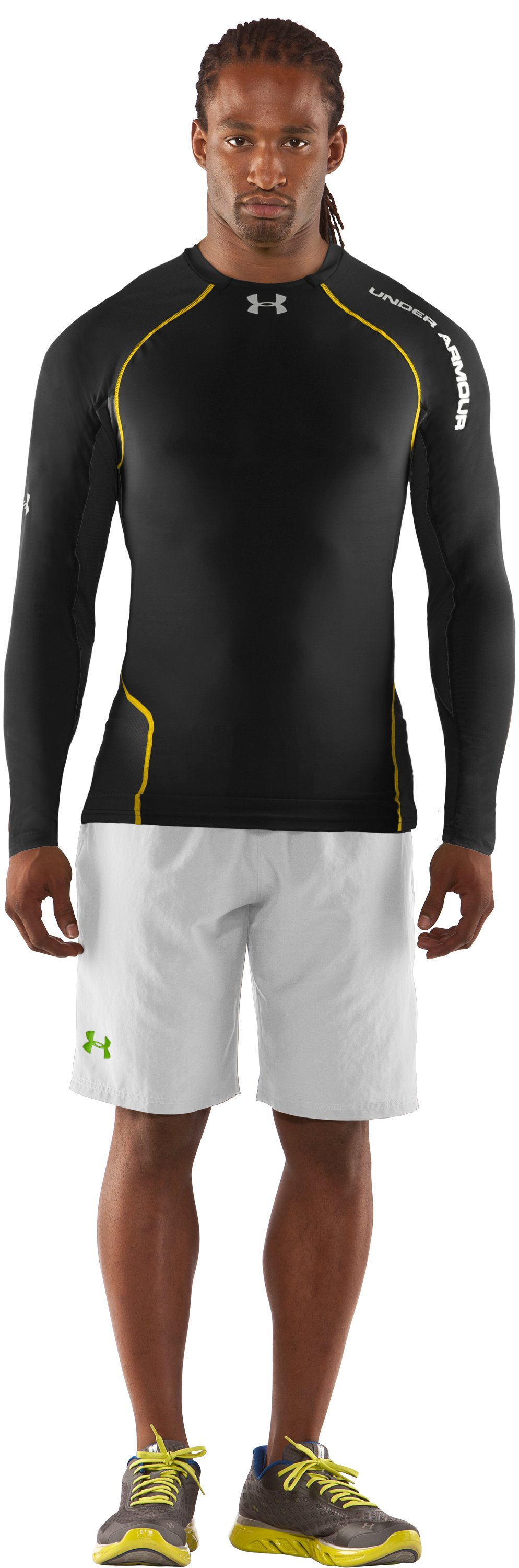 Men's HeatGear® Stretch Woven Long Sleeve Baselayer, Black , Front