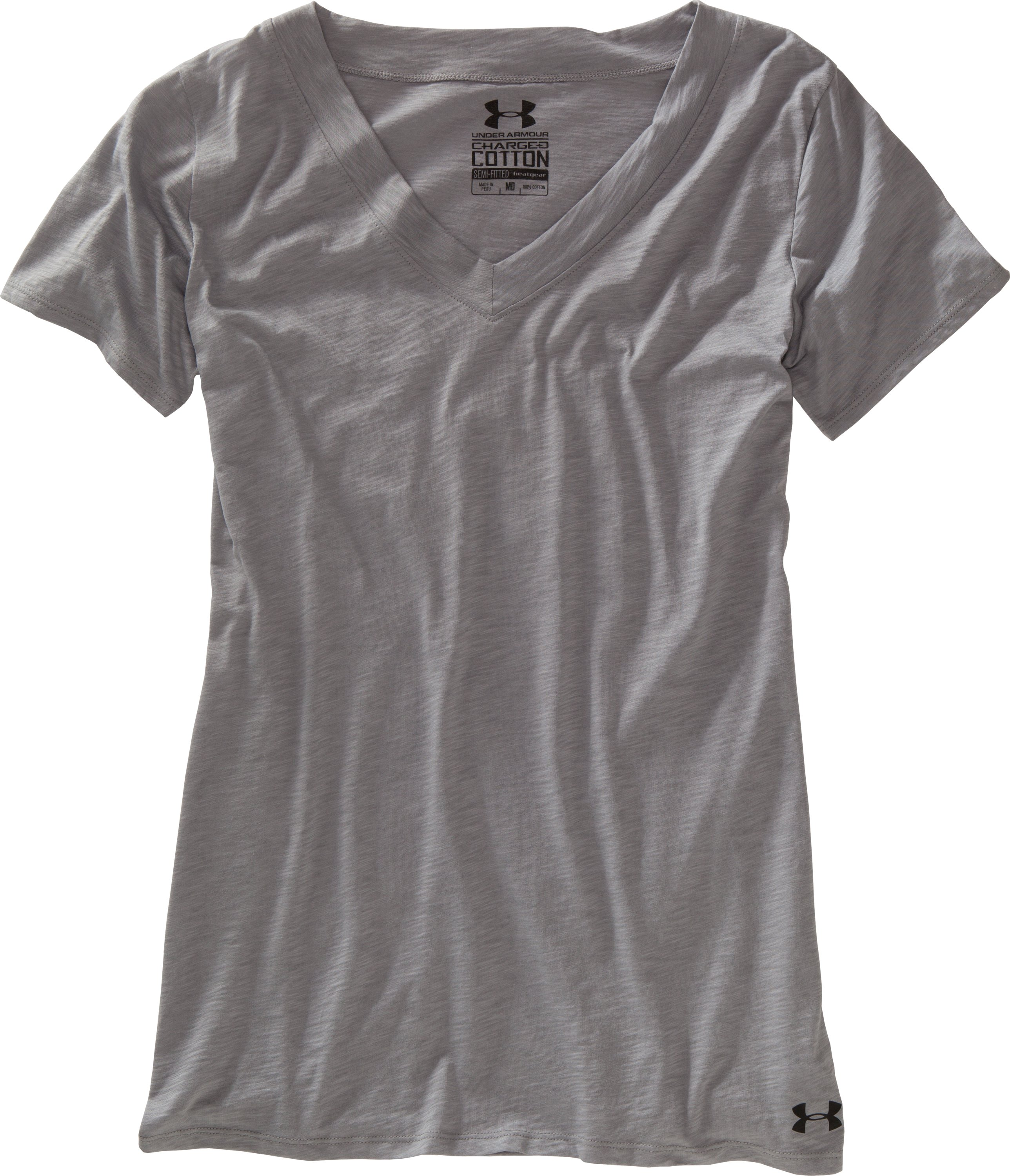 Women's Charged Cotton® Slub T-Shirt, Steel, Laydown