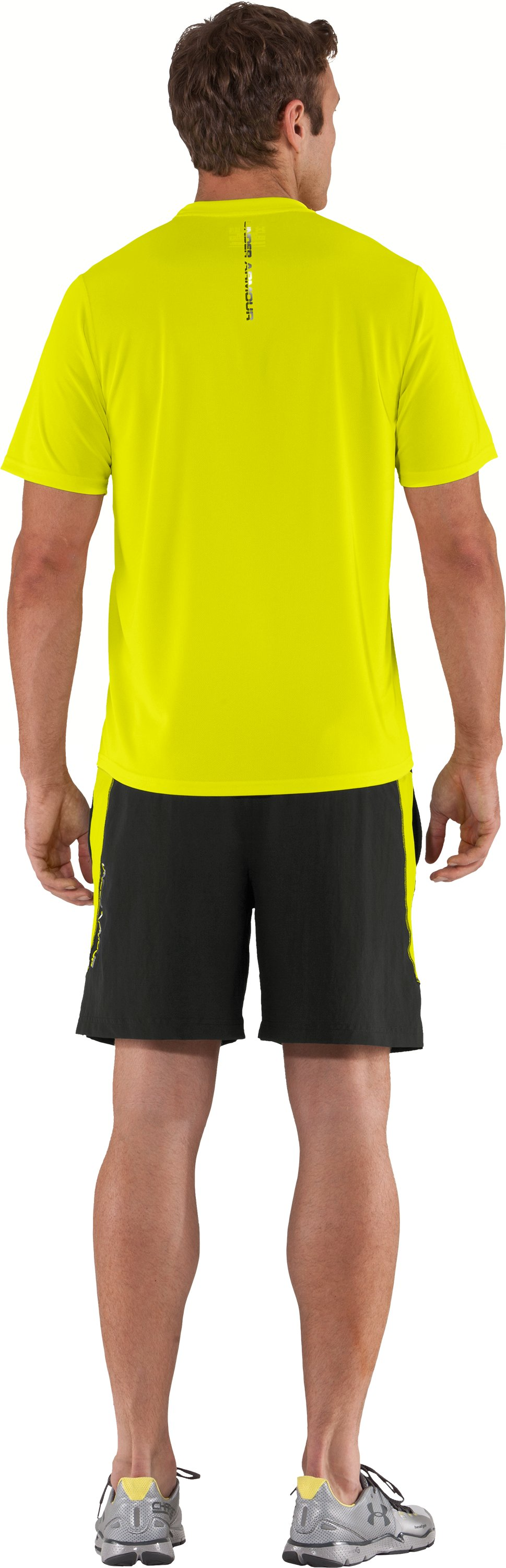 Men's UA Run HeatGear® Short Sleeve T-Shirt, High-Vis Yellow, Back