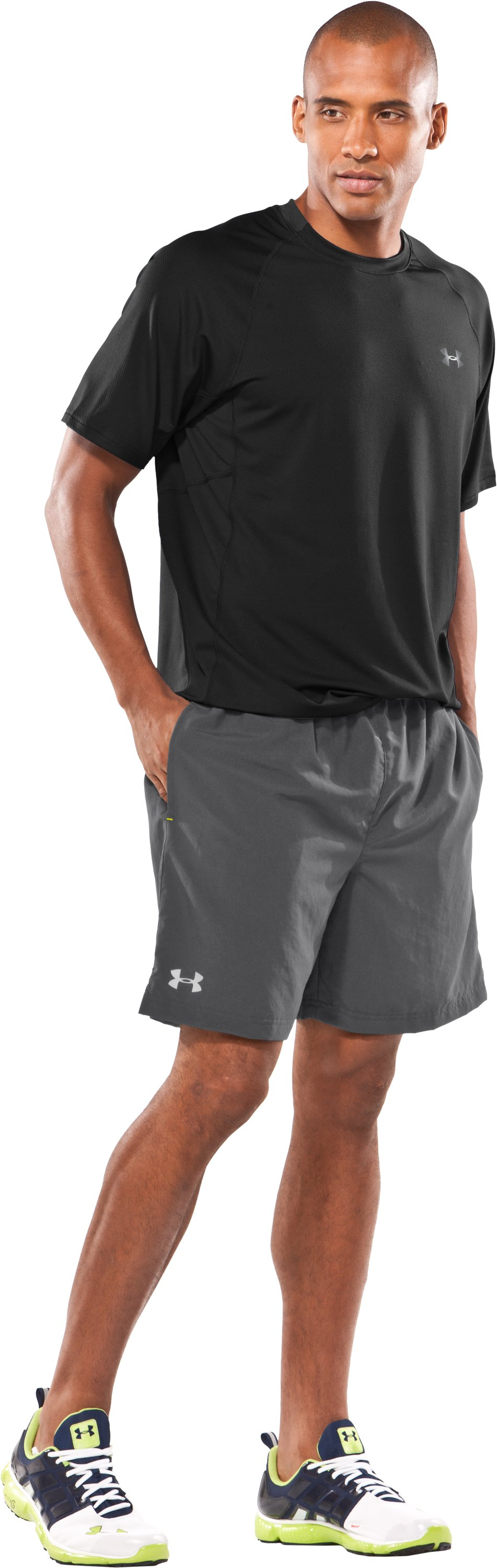 "Men's UA Escape 7"" Solid Shorts, Graphite, zoomed image"