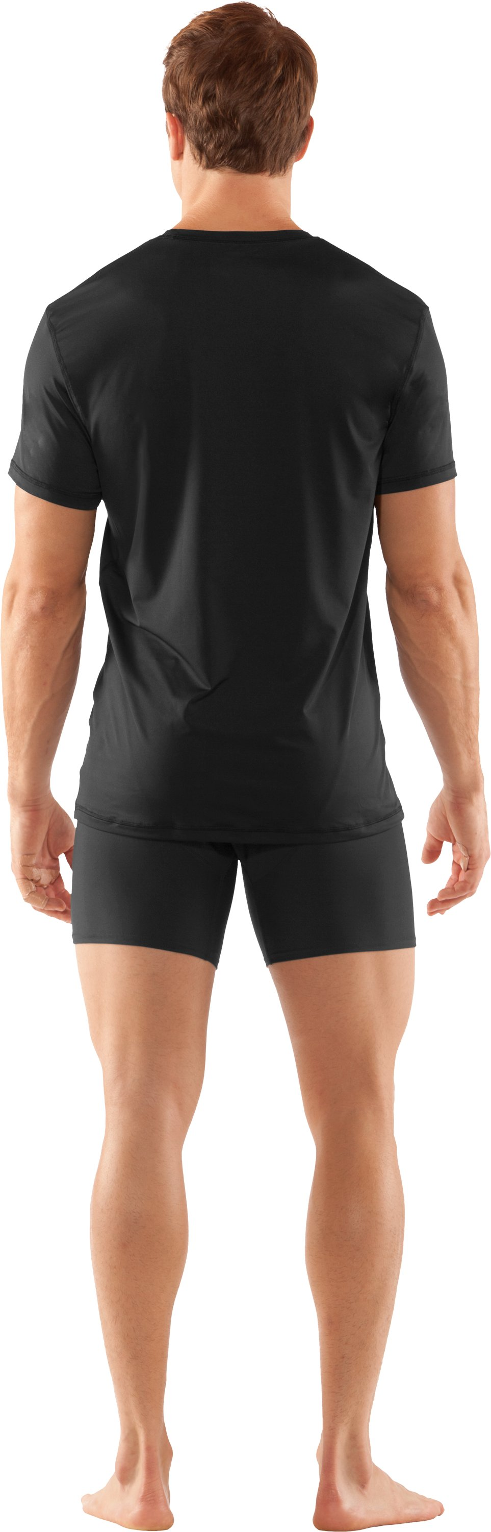 Men's The Original UA Fitted Crew Undershirt, Black , Back