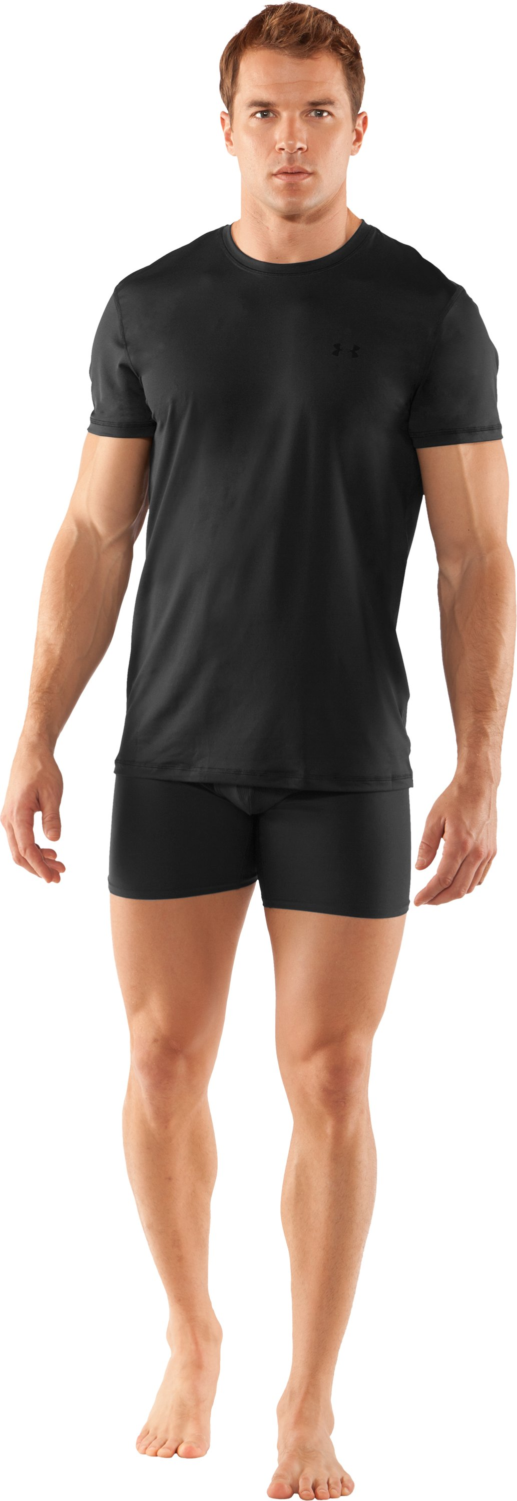 Men's The Original UA Fitted Crew Undershirt, Black , Front