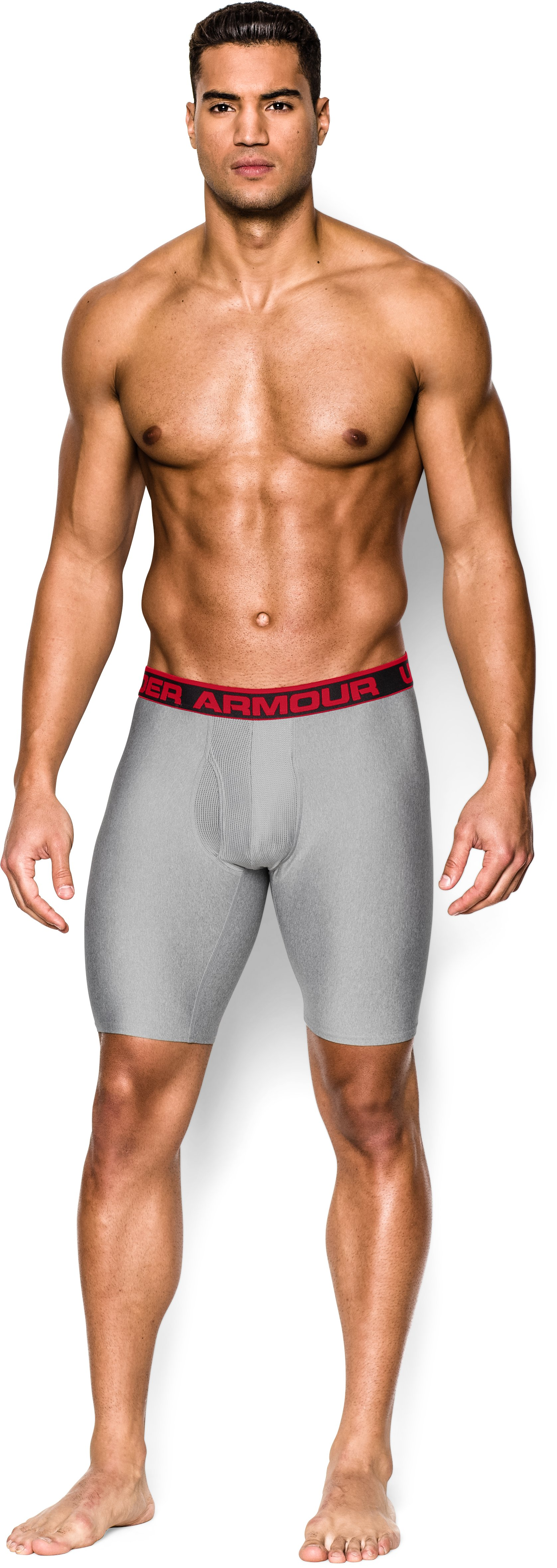 "Men's UA Original Series 9"" Boxerjock®, True Gray Heather, Front"