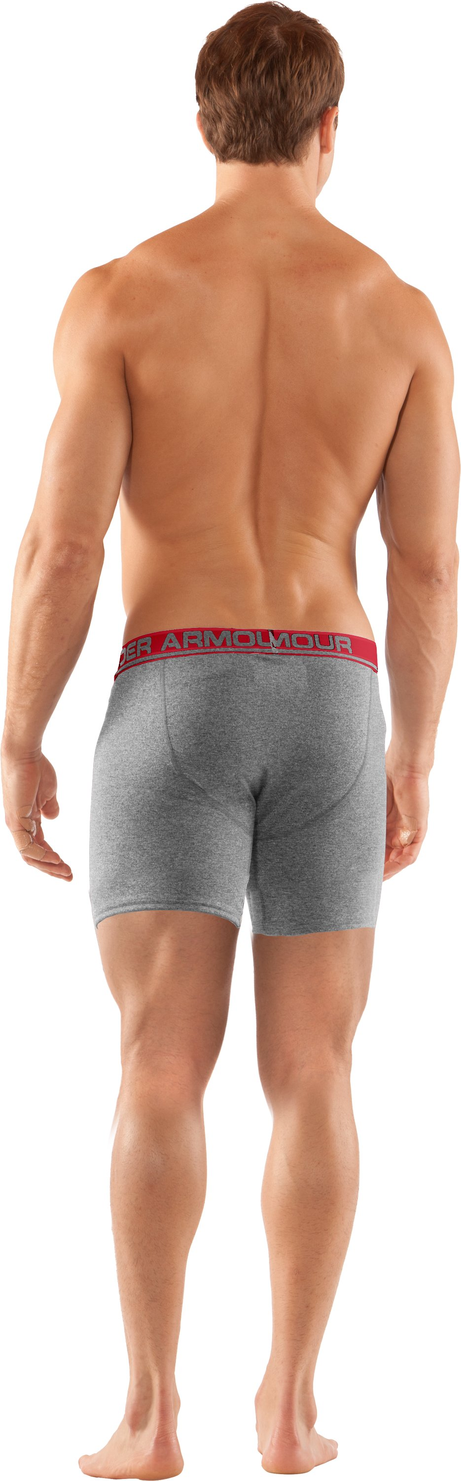 "Men's UA Touch 6"" Boxerjock® Boxer Briefs, True Gray Heather, Back"
