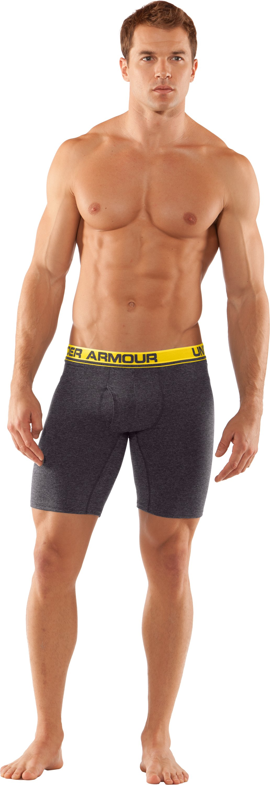 "Men's UA Touch 9"" Boxerjock® Boxer Briefs, Carbon Heather, Front"