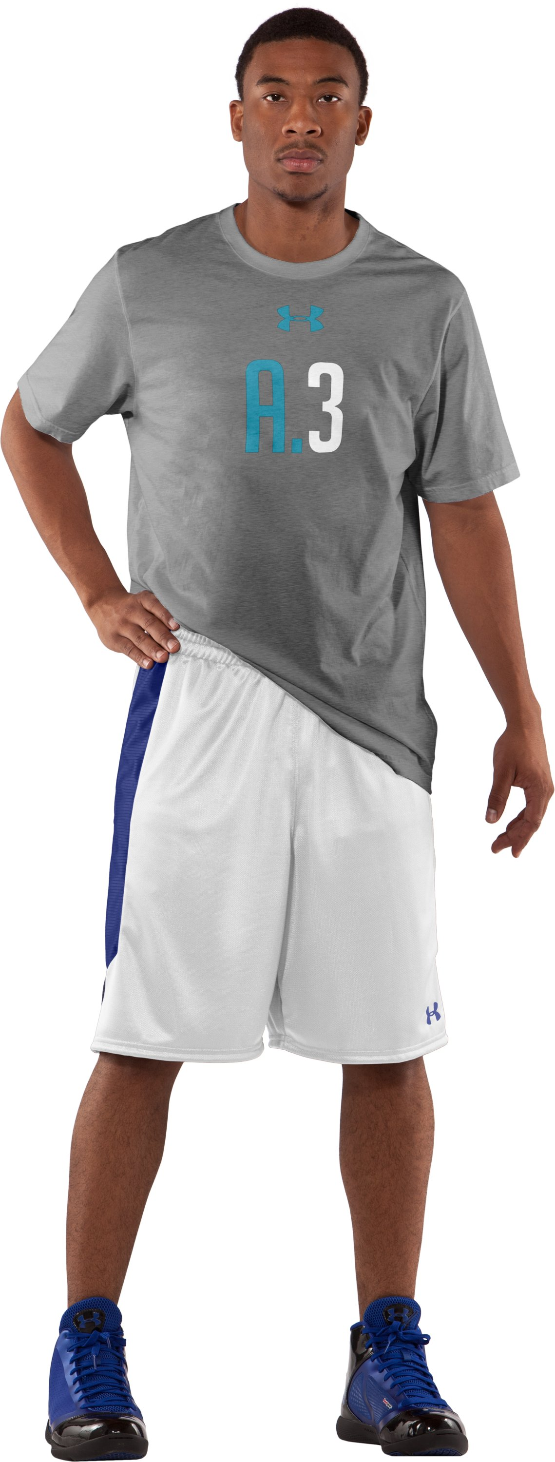 "Men's UA Never Lose 10"" Basketball Shorts, White, zoomed image"