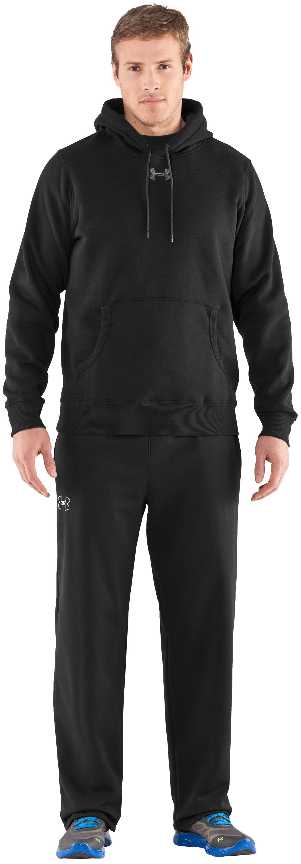 Men's Team Charged Cotton® Storm Hoodie, Black , Front