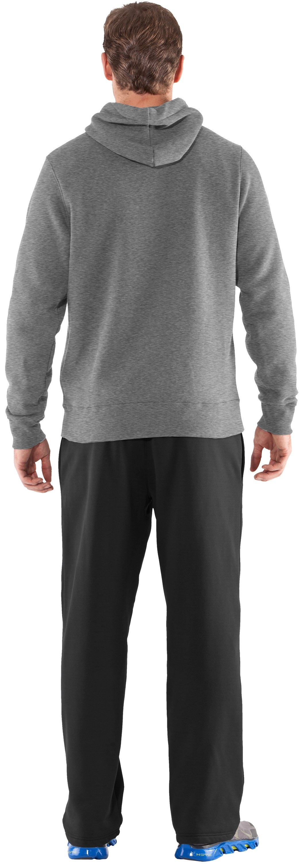 Men's Team Charged Cotton® Storm Hoodie, True Gray Heather, Back