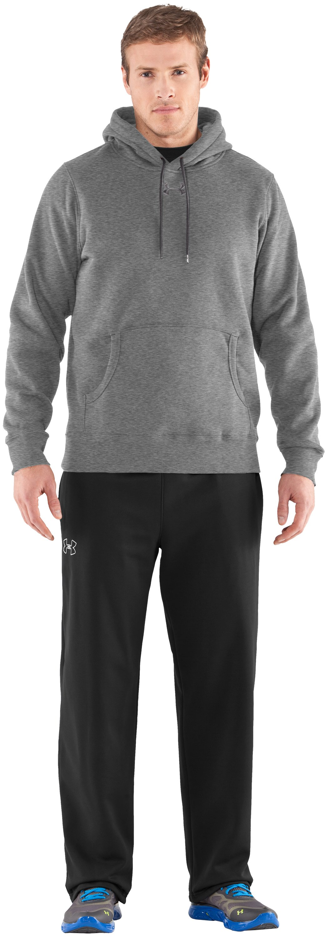Men's Team Charged Cotton® Storm Hoodie, True Gray Heather, Front