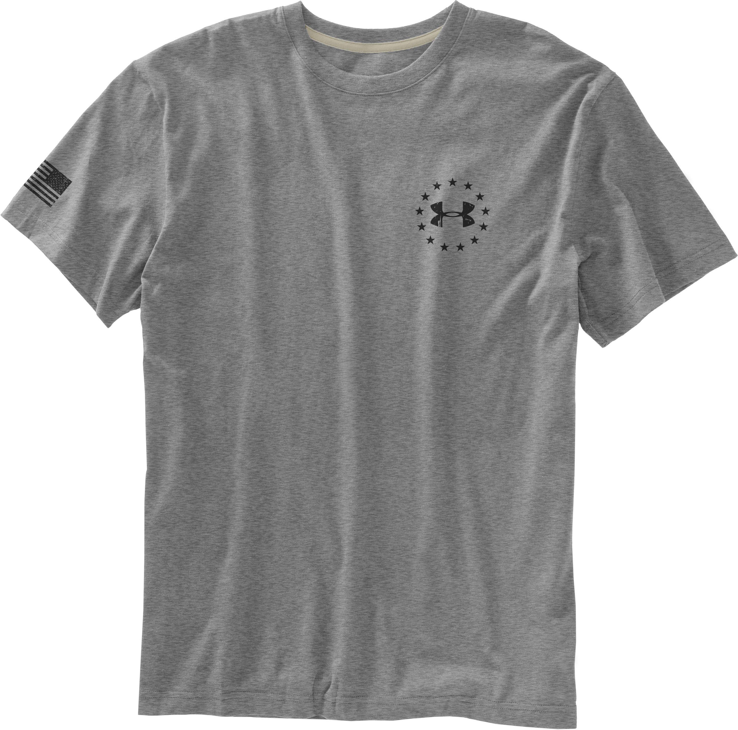Men's UA WWP Freedom Flag T-Shirt, True Gray Heather, Laydown
