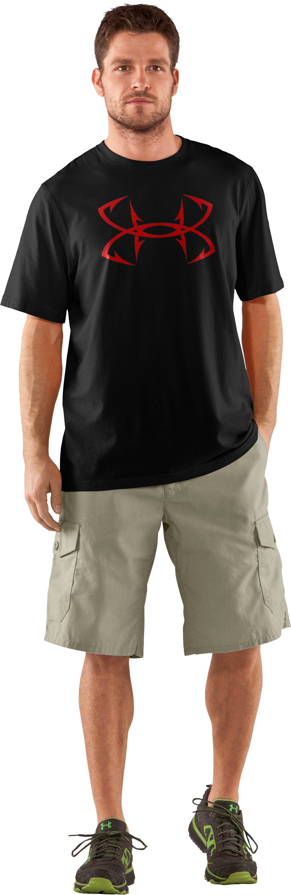Men's UA Fish Hook Logo T-Shirt, Black , Front