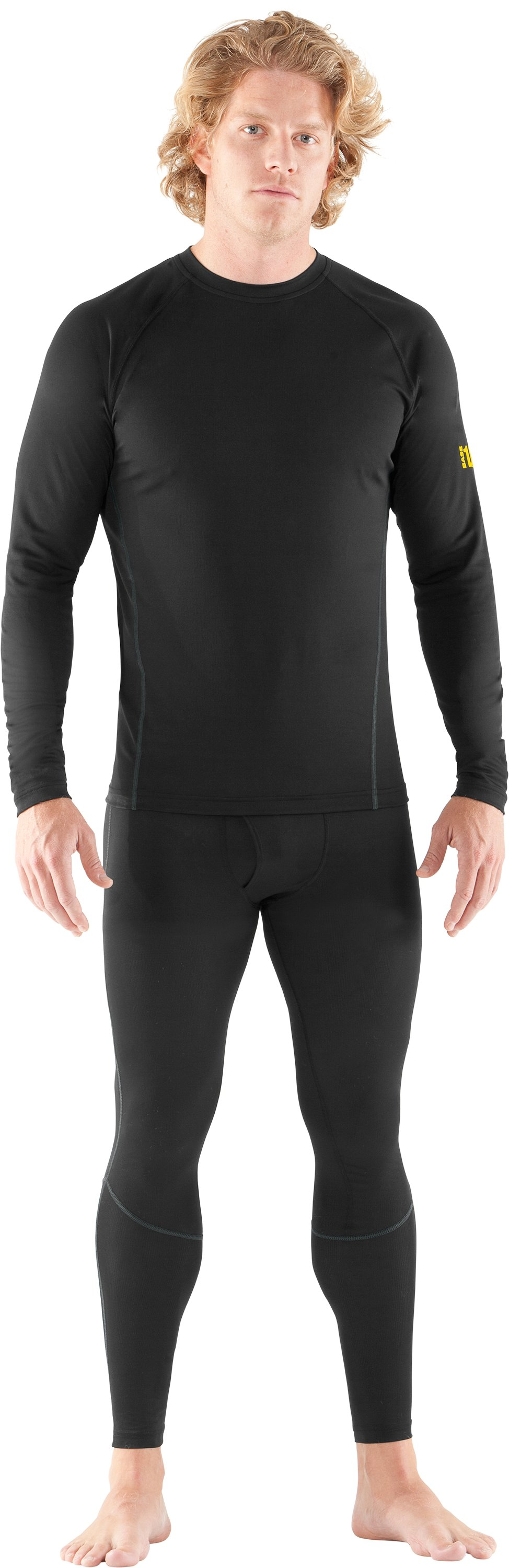 Men's UA Base™ 1.0 Long Sleeve Crew, Black , zoomed image