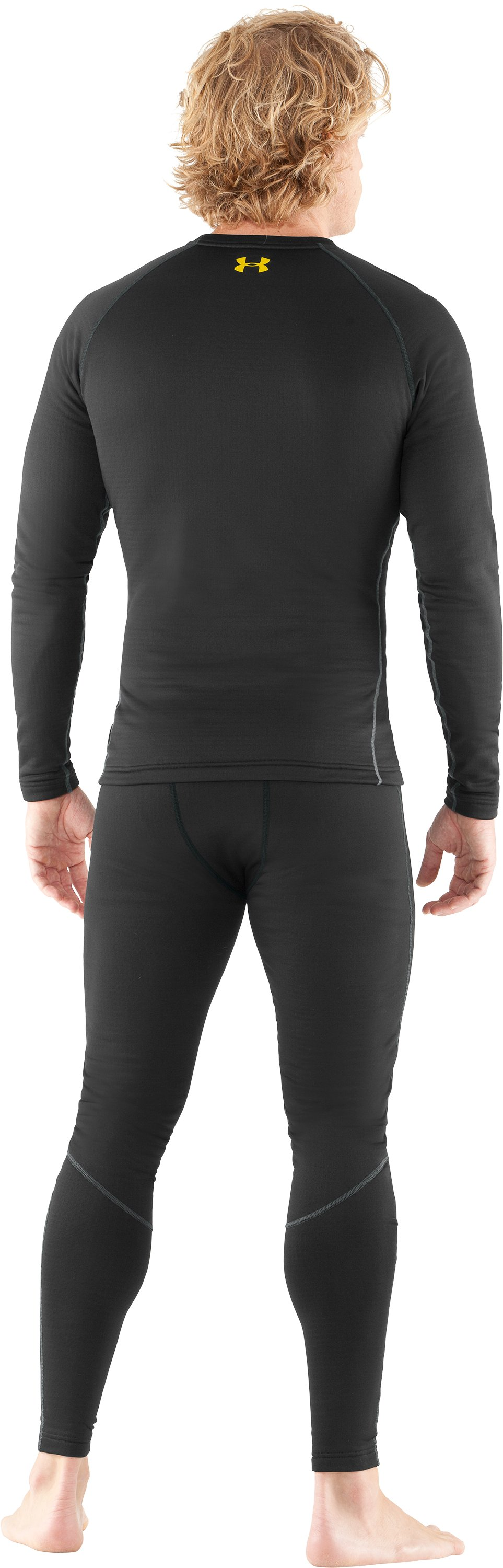 Men's UA Base™ 3.0 Baselayer Crew, Black , Back