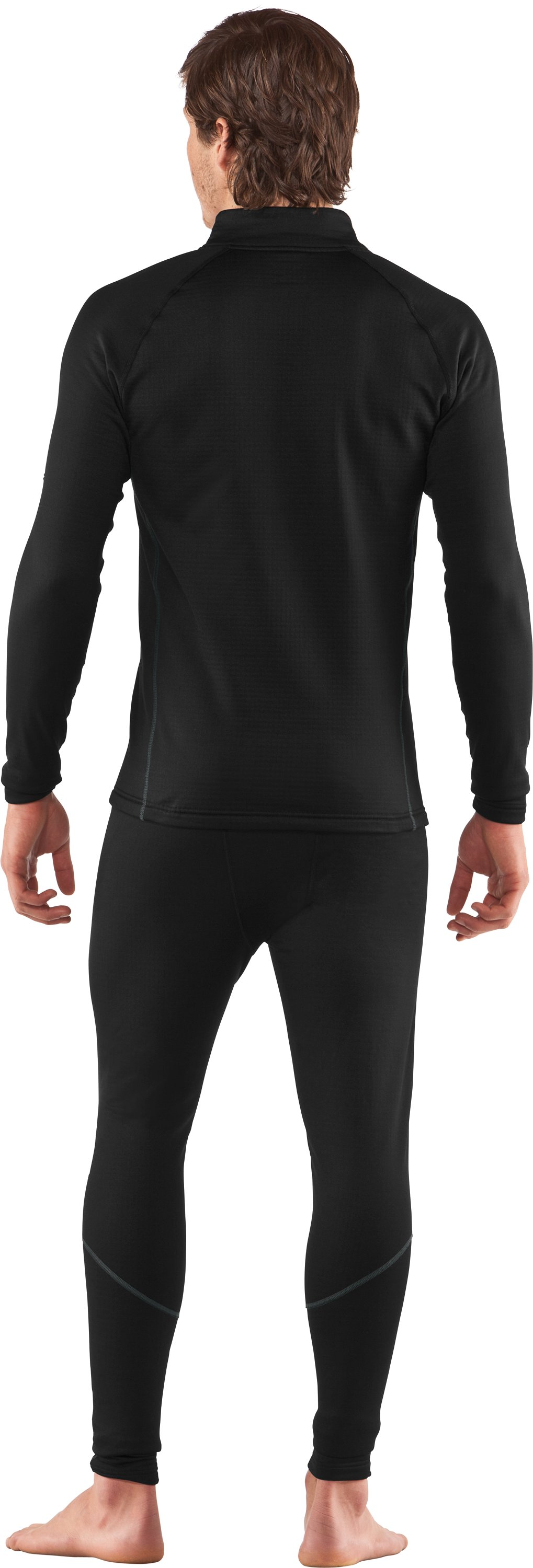 Men's UA Base™ 3.0 ¼ Zip Baselayer, Black , Back