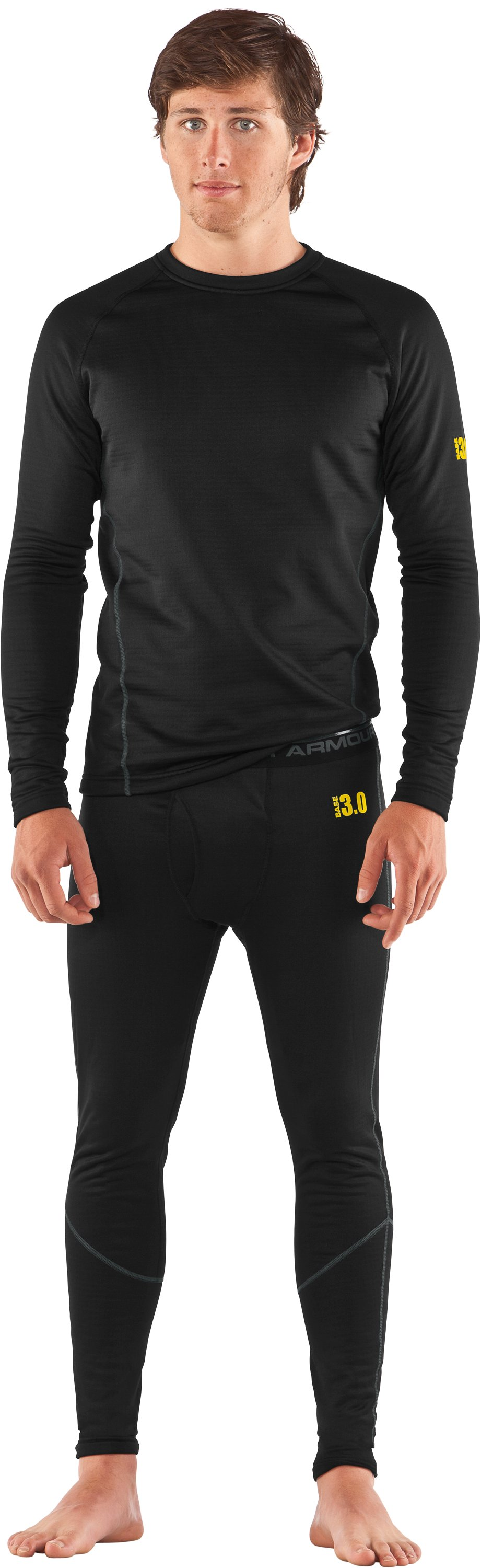 Men's UA Base™ 3.0 Baselayer Leggings, Black , Front