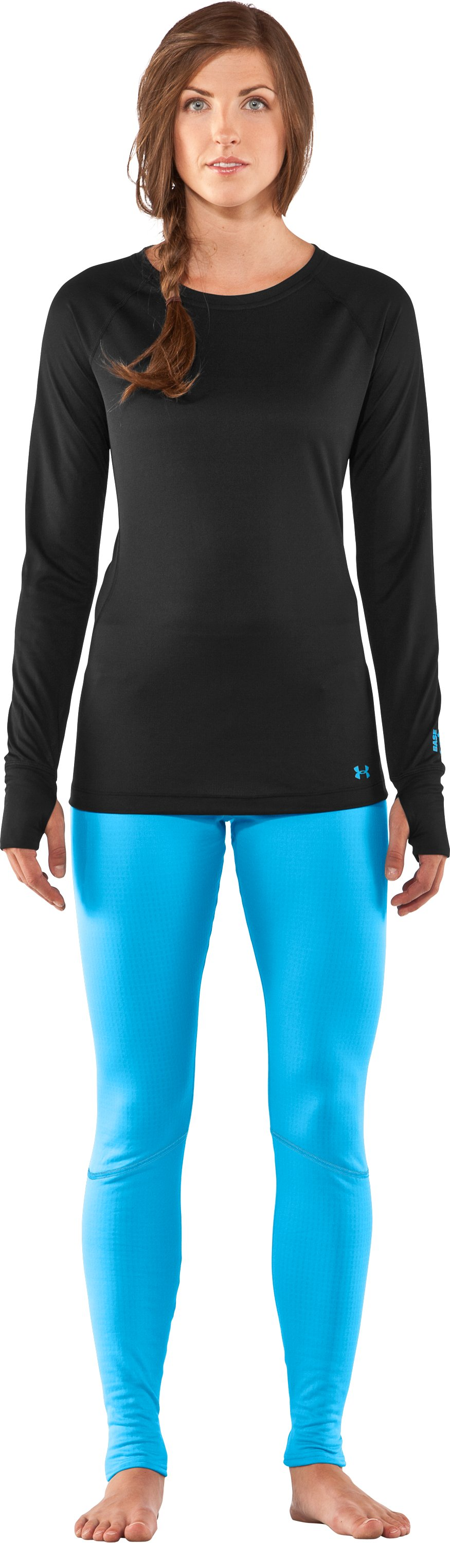 Women's UA Base™ 1.0 Crew, Black , Front