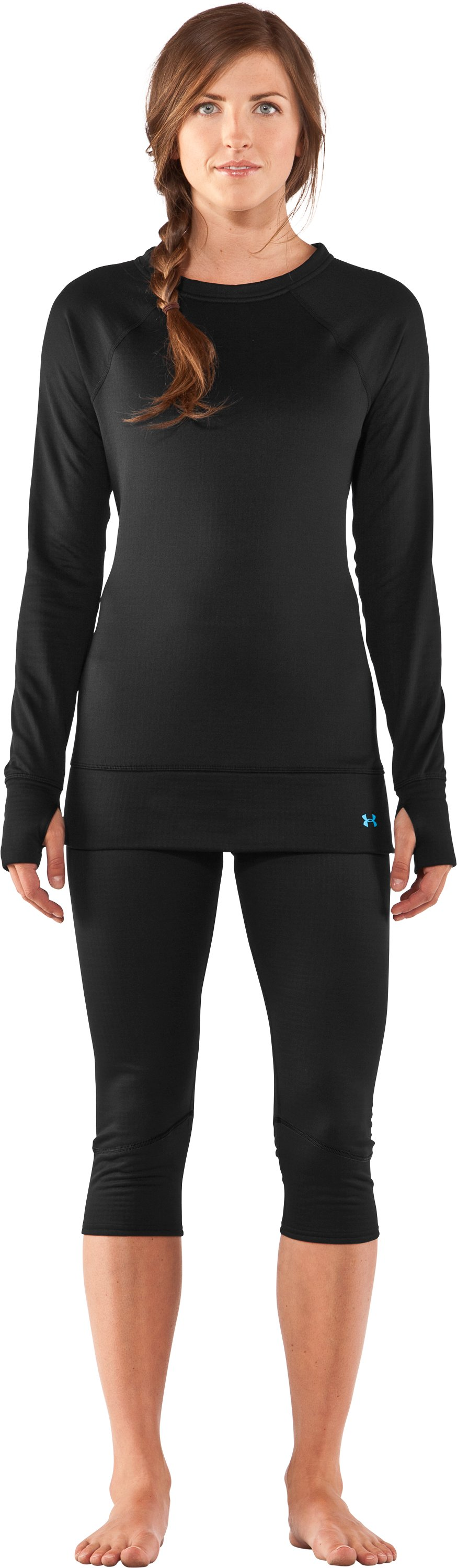 Women's UA Base™ 2.0 Crew, Black , Front