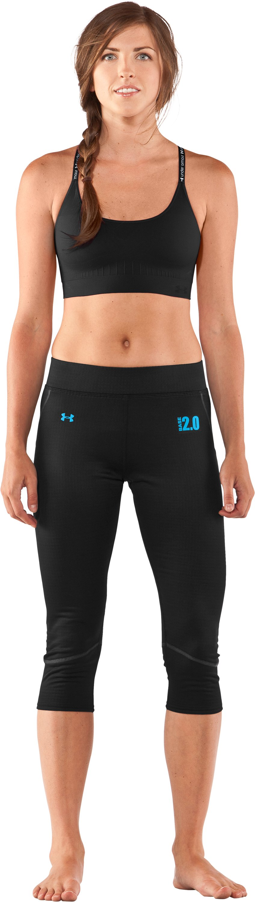 Women's UA Base™ 2.0 ¾ Legging, Black , Front