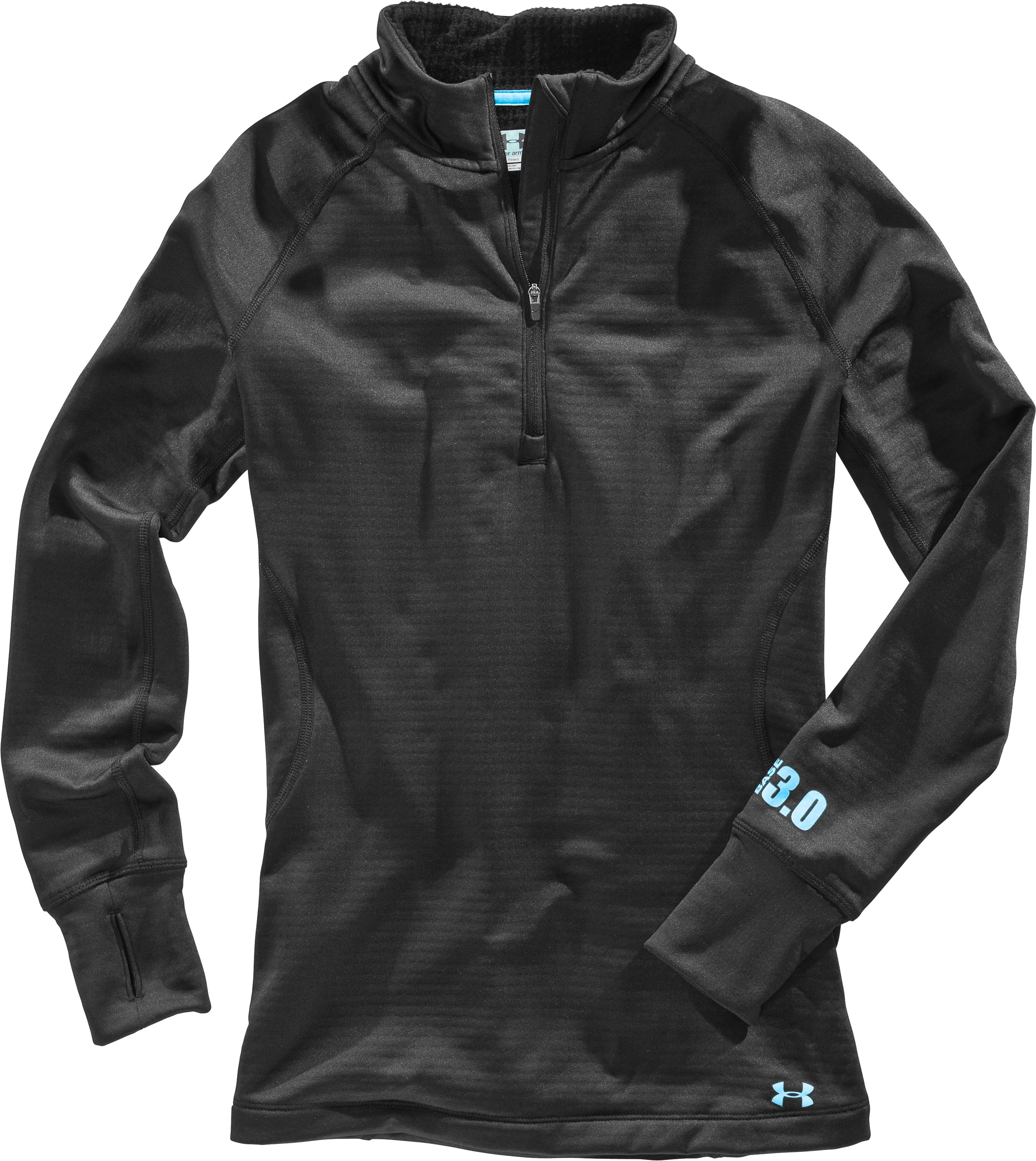 Women's UA Base™ 3.0 ¼ Zip, Black , Laydown