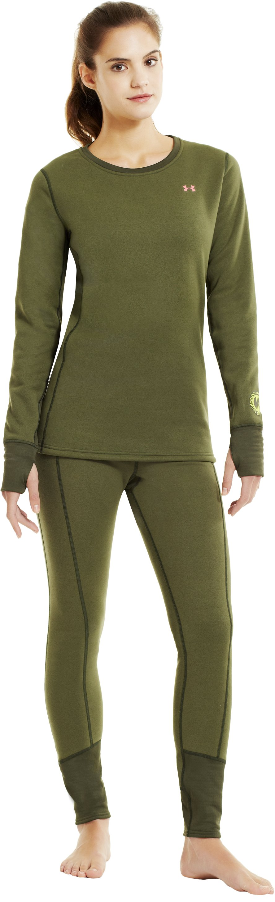Women's UA Extreme ColdGear® Base Leggings, Rifle Green, Front