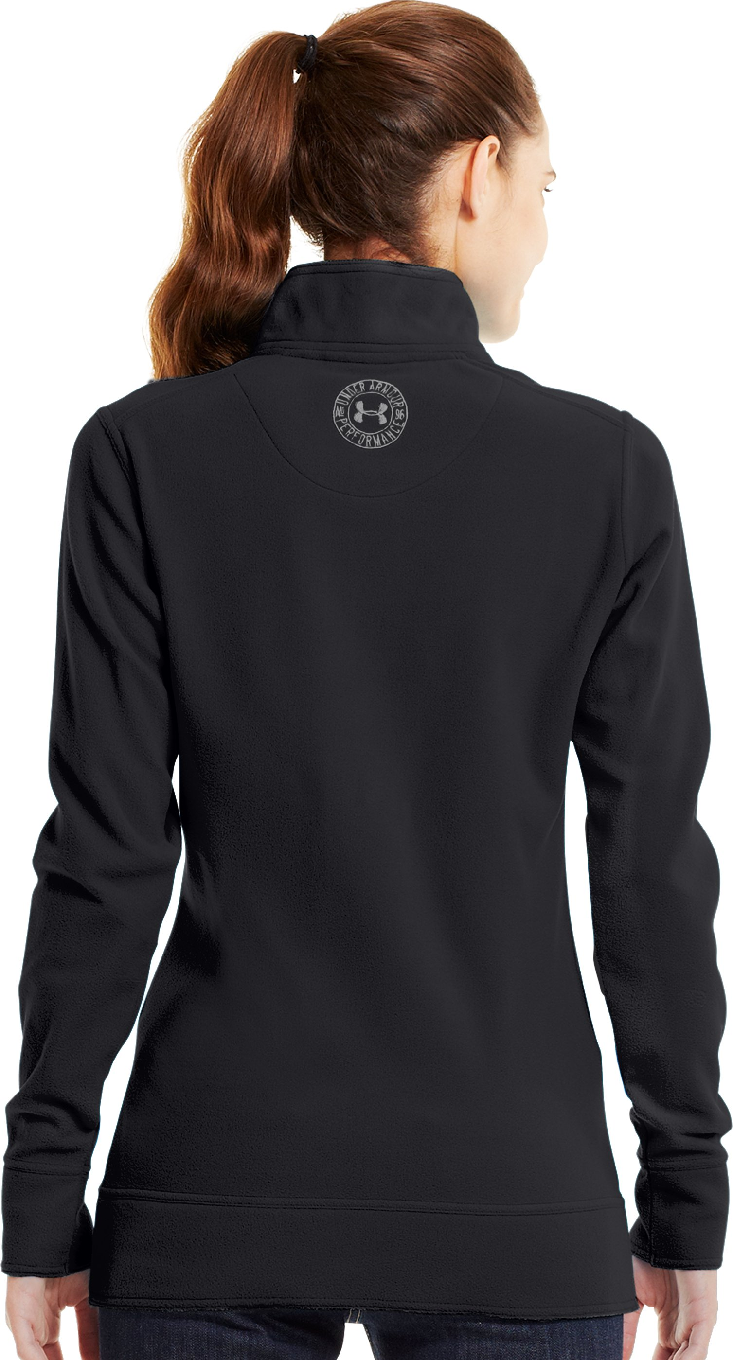 Women's UA Hundo® ¼ Zip Fleece, Black , Back