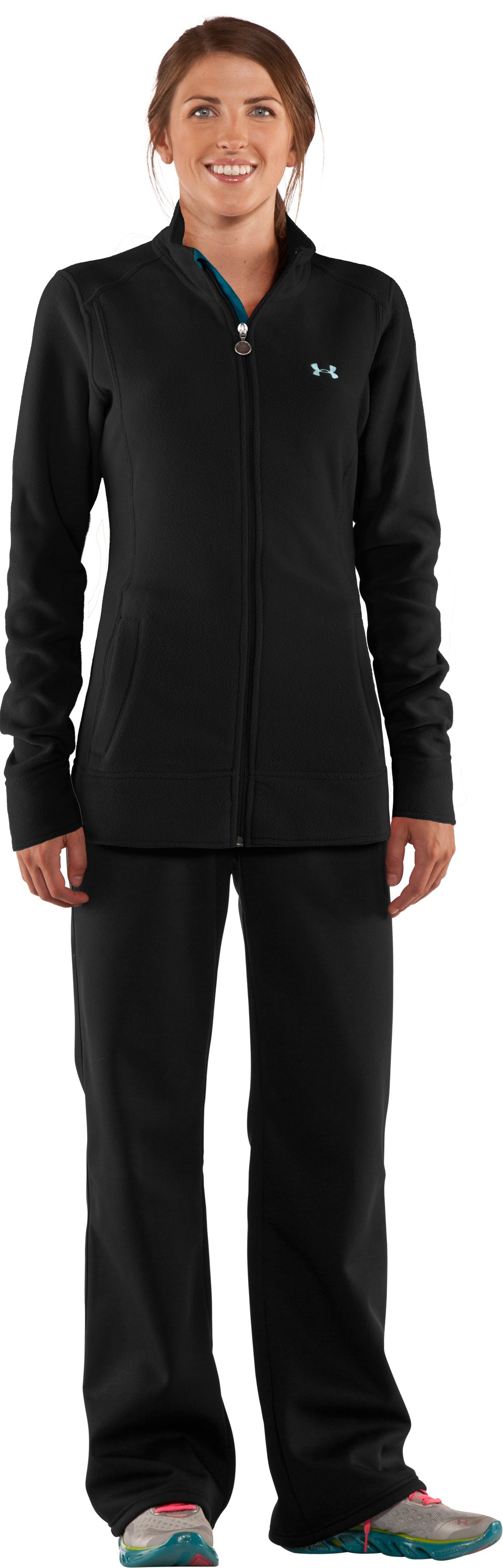 Women's Double Hundo® Full Zip Fleece, Black , Front
