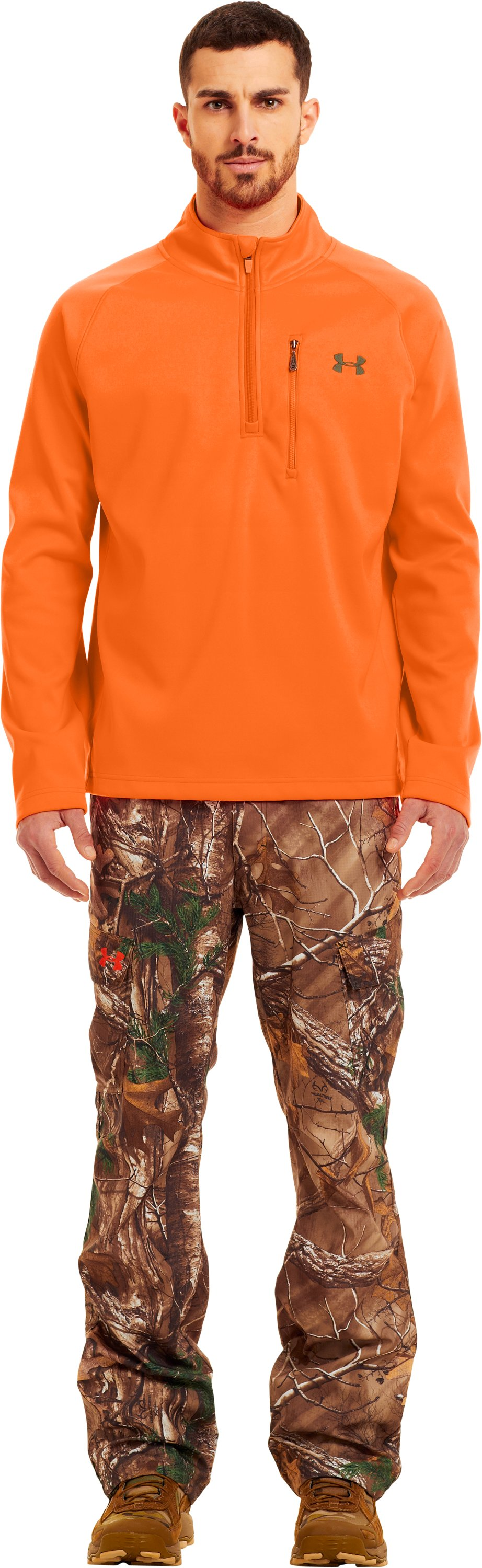 Men's UA Performance ¼ Zip Fleece, Blaze Orange, Front