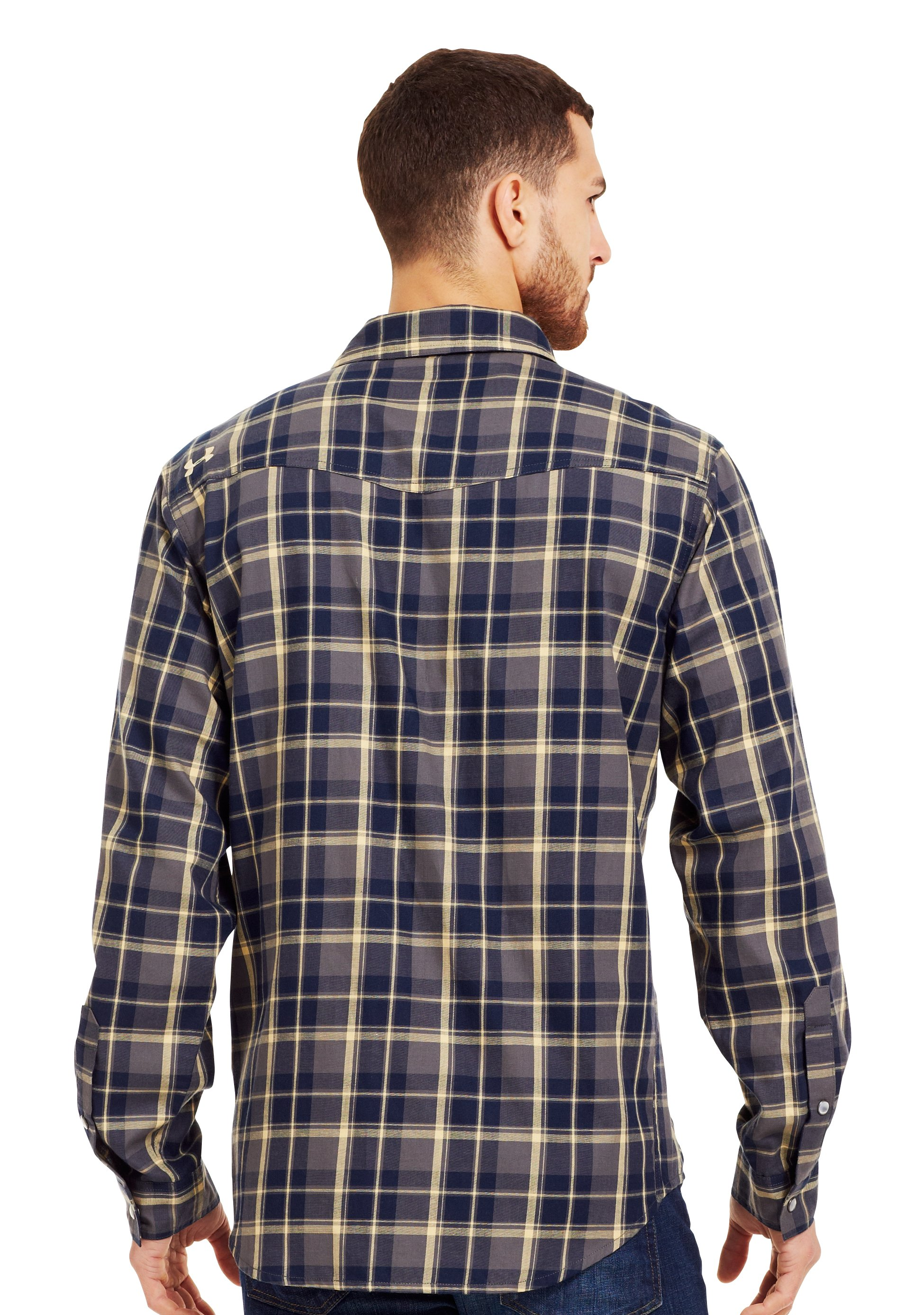 Men's UA Sixshooter Flannel, Battleship, Back