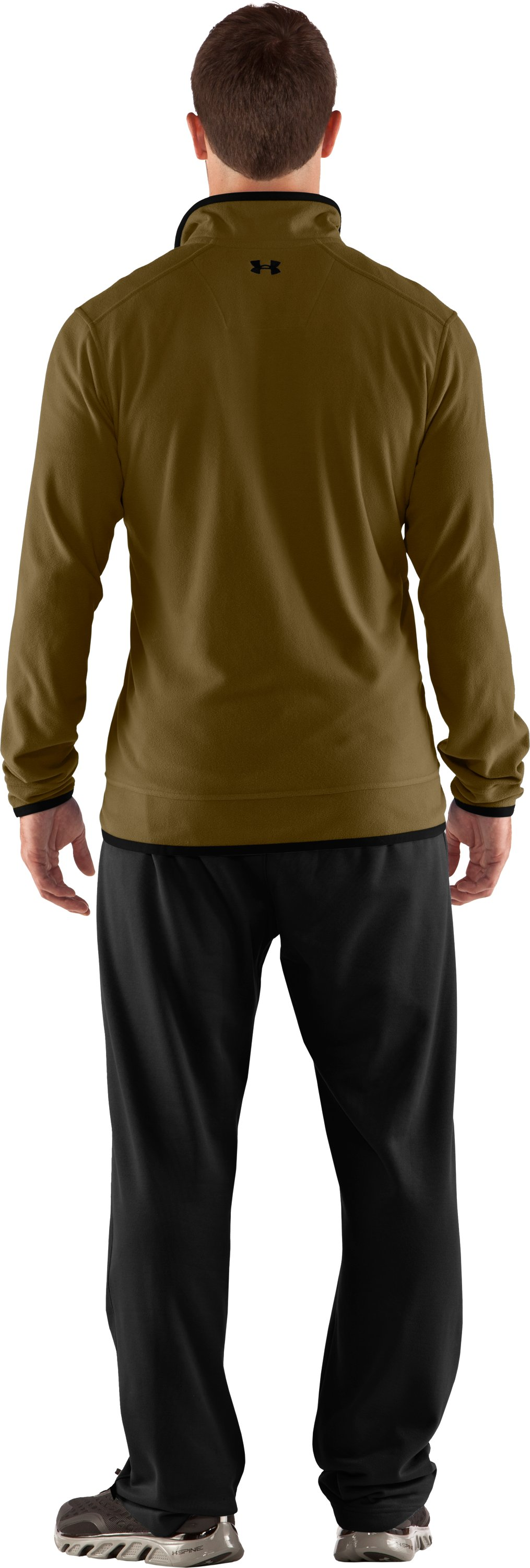 Men's UA Furrow ¼ Zip Fleece, Drab, Back