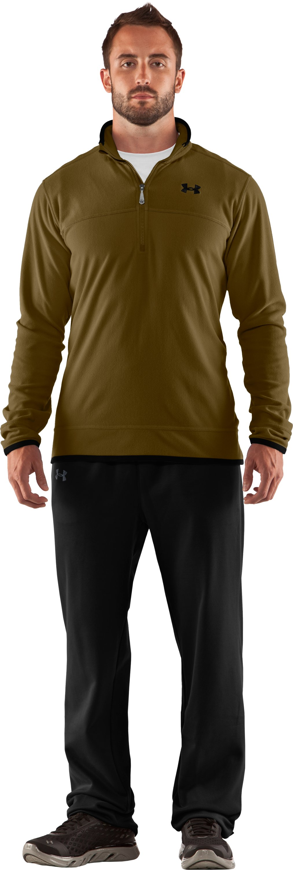 Men's UA Furrow ¼ Zip Fleece, Drab, Front