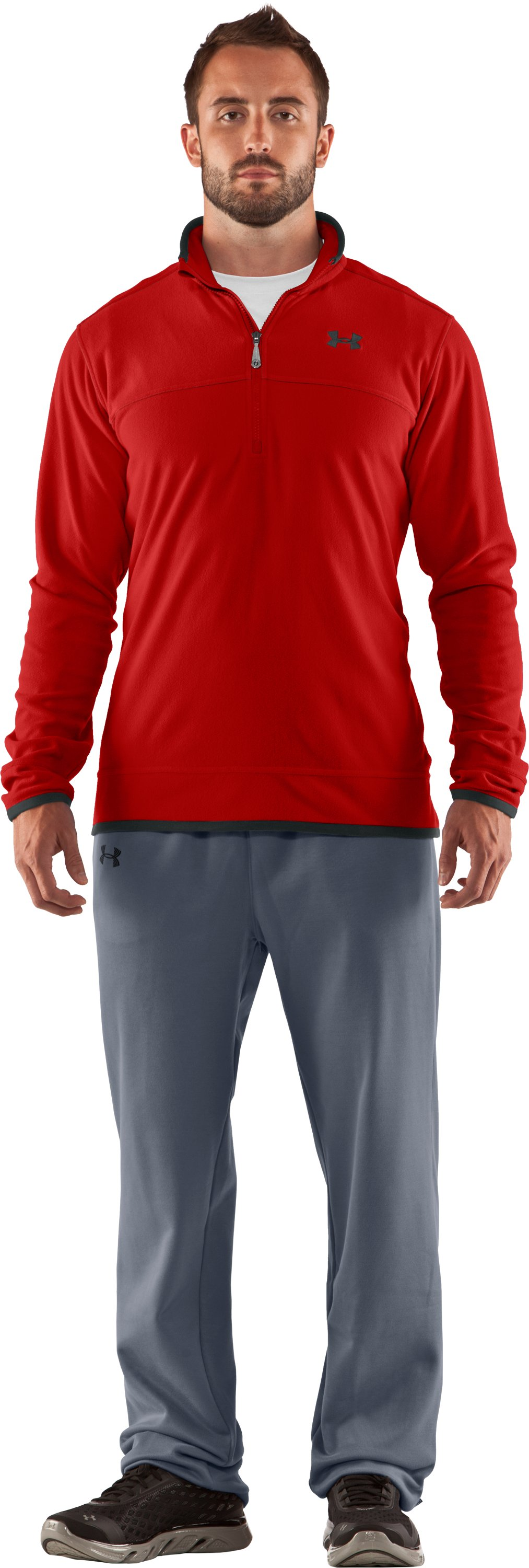 Men's UA Furrow ¼ Zip Fleece, Fireball, Front
