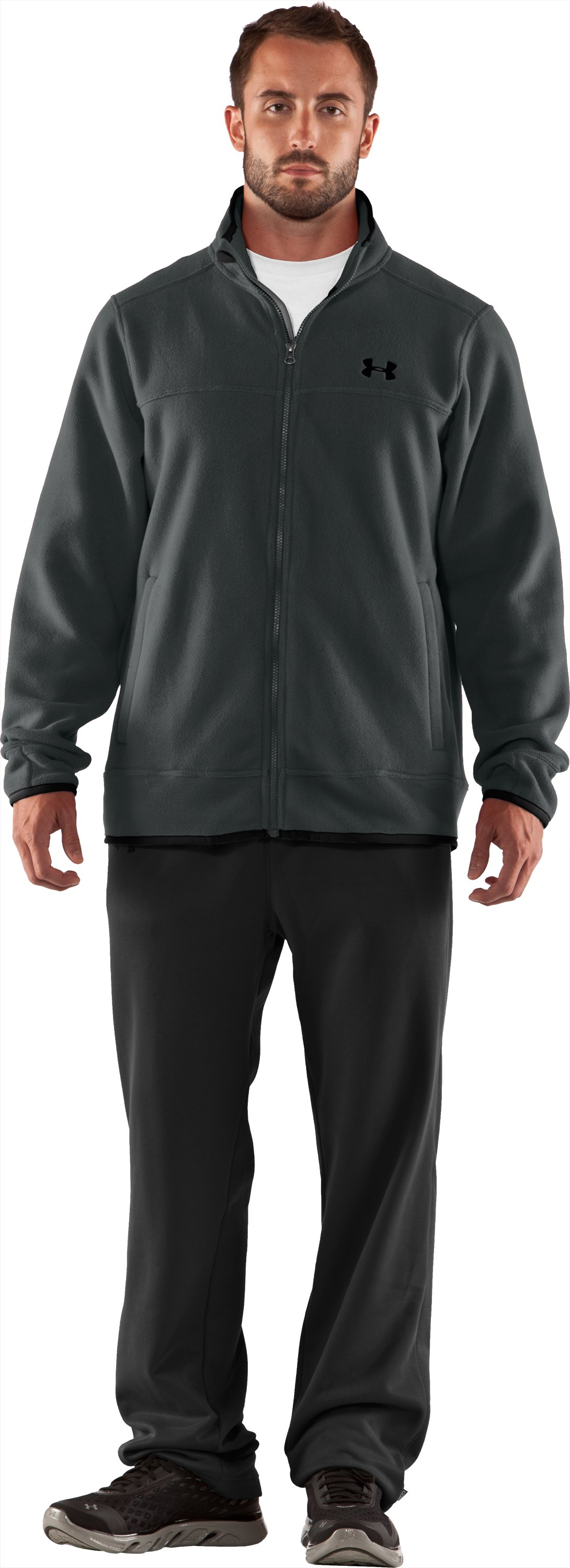 Men's UA Furrow Fleece Jacket, Battleship, Front