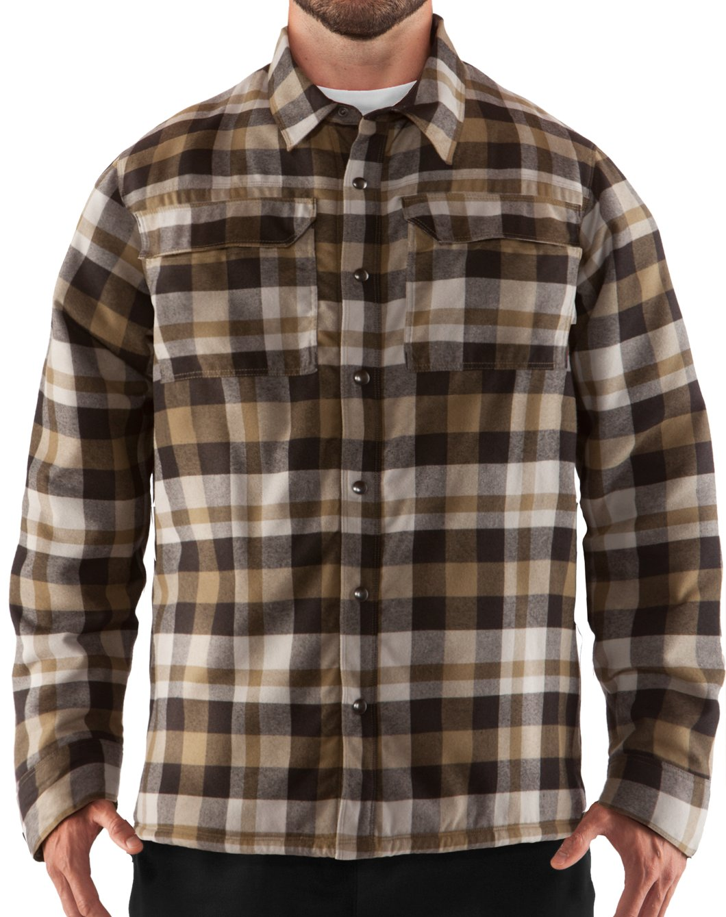 Men's UA Lined Shirt-Jacket, Drab, Front