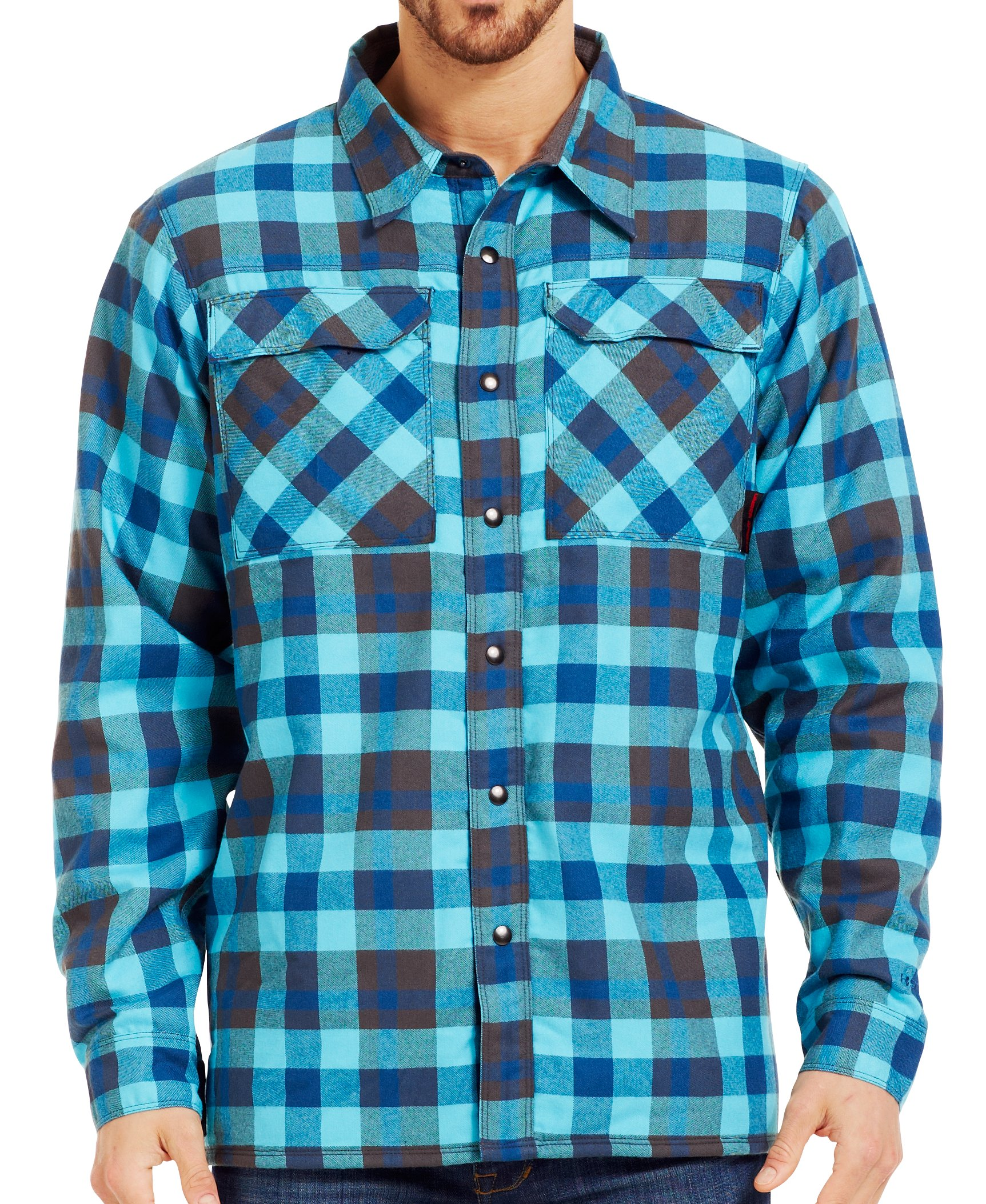 Men's UA Lined Shirt-Jacket, PETROL BLUE, Front