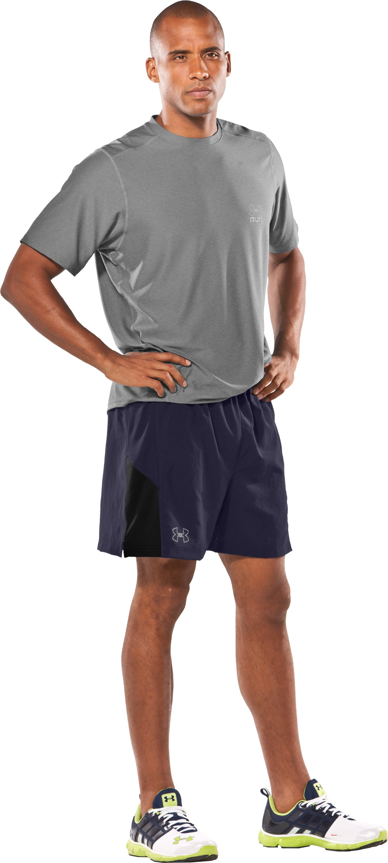 "Men's UA Escape 5"" Woven Shorts, Midnight Navy, Front"