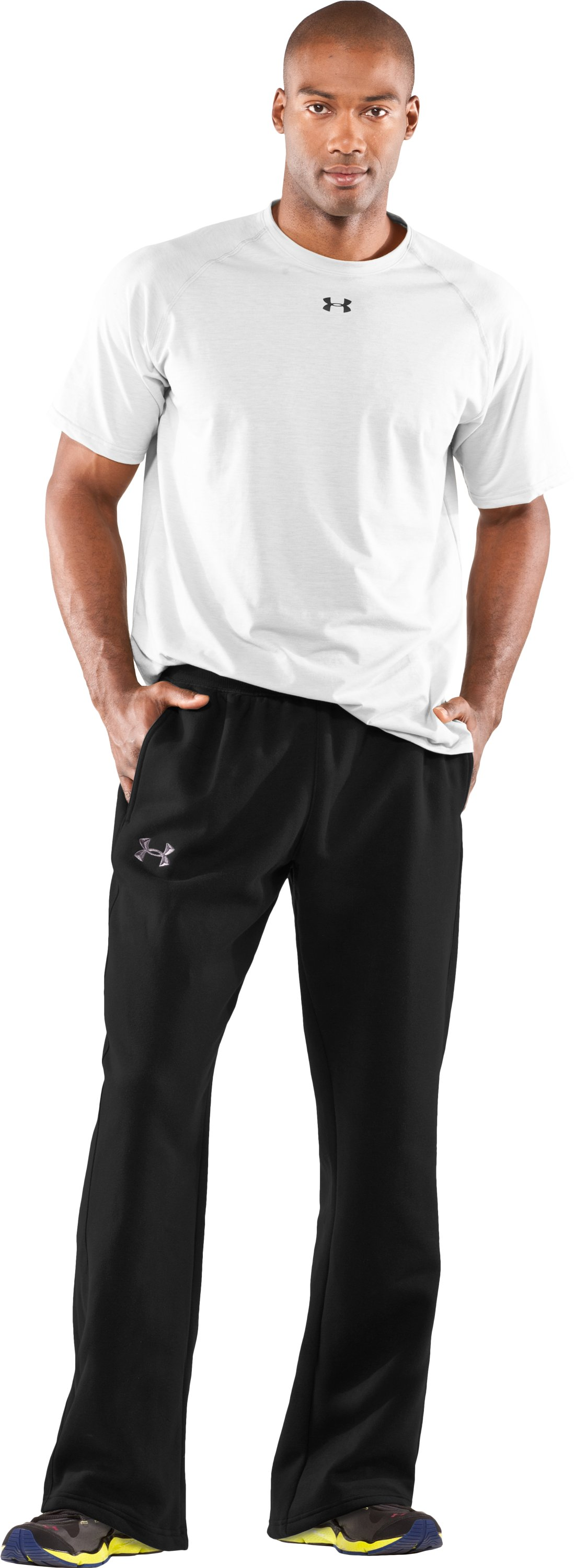 Men's Team Charged Cotton® Storm Pants, Black , zoomed image